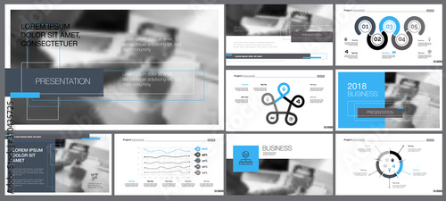 Fotografie, Tablou  Grey, white, blue and black infographic design elements for presentation slide templates