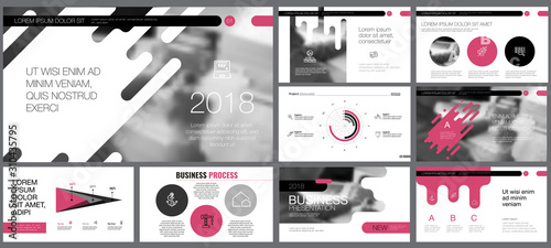 Photo  Pink, black, grey and white infographic design elements for presentation slide templates