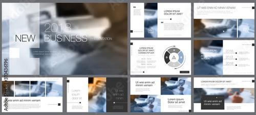 White, grey, black, blue infographic design elements for presentation slide templates Canvas Print