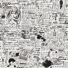 Vector Seamless Pattern On A Writers Theme. Black And White Background With Hand-drawn Angel, Typewriter, Books And Illegible Handwritten Notes. Suitable For Wallpaper, Wrapping Paper Or Fabric
