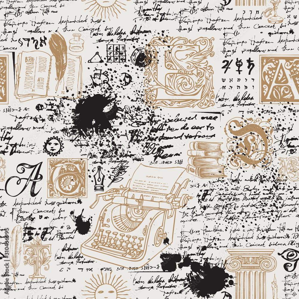 Fototapeta Vector seamless pattern on a writers theme. Abstract background with hand-drawn typewriter, books, capital letters and illegible handwritten notes. Suitable for wallpaper, wrapping paper or fabric