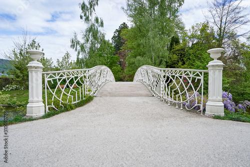 Fototapeta kładka  piekny-bialy-most-z-kutego-zelaza-i-jego-balustrada-w-parku-publicznym-w-europejskim-miescie