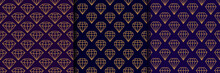 Set Of Three Gemstone Seamless Pattern In Minimal Trendy Style. Gold Linear Diamonds On A Dark Purple Background. Vector