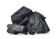 Wood Charcoal Isolated On Whit...
