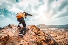Success Woman Hiker Hiking On ...