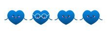 Set, Collection Of Cute And Smiling Cartoon Style Blue Heart Characters For Valentines Day Design.