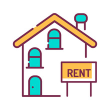 Rental Of Property Color Line Icon. An Agreement Where A Payment Is Made For The Temporary Use Of Property. Pictogram For Web Page, Mobile App, Promo. UI UX GUI Design Element. Editable Stroke.