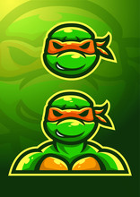 Stock Vector Ninja Turtle Mascot Logo Set. Logo, Badge, Esport Logo, And Emblem With Modern Illustration Concept Style.