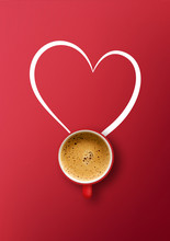 Happy Valentine's Day Concept. Cup Of Coffee On Red Background