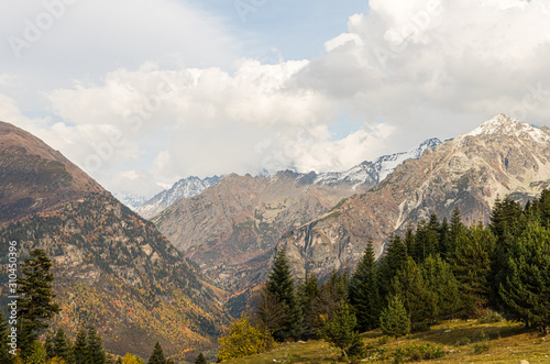 Panoramic  view snow-capped peaks of mountains with low clouds in Svaneti, in the mountainous part of Georgia #310450396