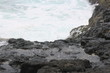 the rocks at the seashore that just hit by the waves