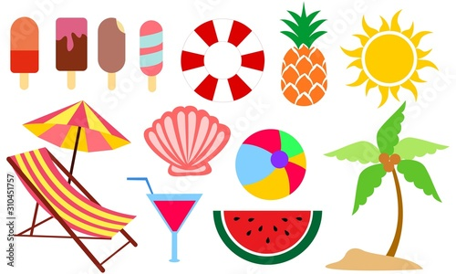 Fotomural  Set of summer and vacation elements cute cartoon illustration