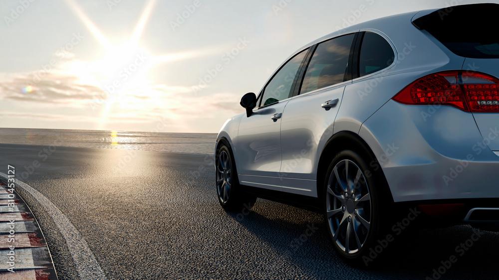 Obraz 3d car sedan rides on the road to meet the sun, concept 3d render for advertising auto products fototapeta, plakat