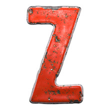 Capital Letter Z Made Of Red Paintad Metal Isolated On White Background. 3d