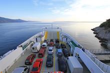 Ferryboat Transport Between Krk And Cres Islands In Croatia