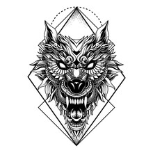 Wolf Illustration Geometric Ta...