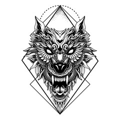 wolf illustration geometric tattoo style and tshirt design