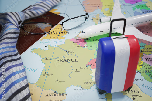 Obraz Vacation to France and tourism concept. Suitcase with french flag. 3D rendered illustration. - fototapety do salonu