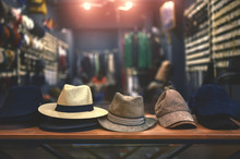 Shop Window With Hats And Caps In A Clothing Store
