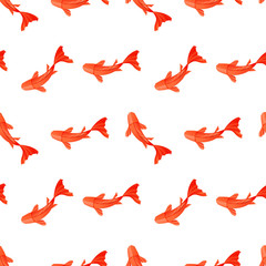 Seamless pattern with origami red orange paper fish