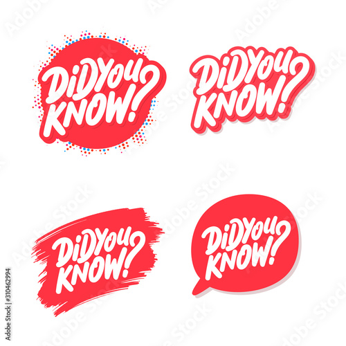Did you know. Vector lettering icons set. Canvas-taulu