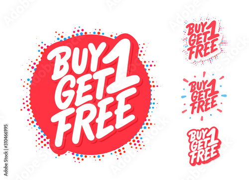 Buy one get one free. Vector lettering icons set.
