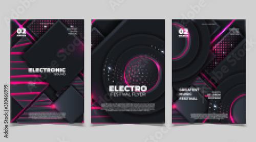 Cuadros en Lienzo  Electro sound party music poster