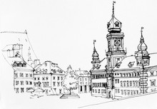Lineart Ink Drawing Of Warsaw ...