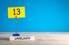 January 13th. Day 13 Of January Month, Calendar On Blue Background. Winter Time. Empty Space For Text, Mock Up