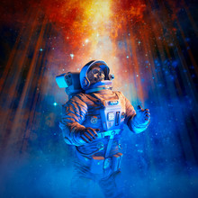 Final Mission To The Stars / 3D Illustration Of Science Fiction Scene With Skeleton Astronaut In Outer Space Amid Glowing Galaxies