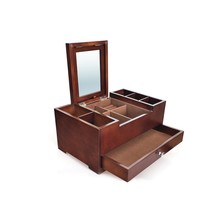 Large Wooden Jewelry Storage Box Isolated On White Background