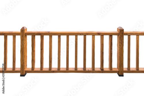 Fotografie, Tablou Wooden railing isolated on white background