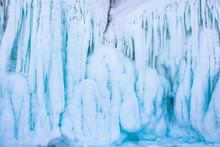 Blue Ice Stalactite On Cliff, ...
