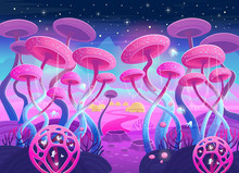 Fantasy Landscape With Magical Plants And Mushrooms. Illustration Of Space.  Background For Games And Mobile Applications.