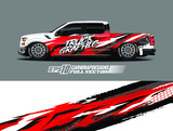 Vehicle wrap design vector. Graphic abstract stripe racing background kit designs for wrap race car, rally, adventure and livery. Full vector eps 10