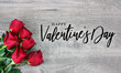 canvas print picture - Happy Valentine's Day Calligraphy Logo Design with Beautiful Red Rose Flowers Over Rustic Wood Background