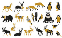 Set Of Winter Animals Silhouet...