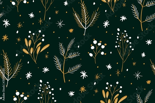 obraz PCV Christmas and Happy New Year seamless pattern. Hand drawn floral winter texture with christmas tree branches and berries.