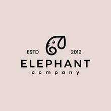 Elephant Logo Vector Minimalis...