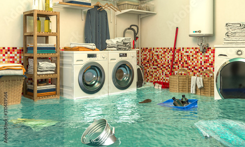 Photo 3d render image of an interior of a flooded laundry.