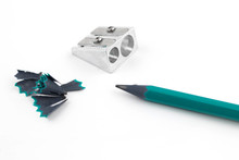 Green Pencil With Sharpener An...