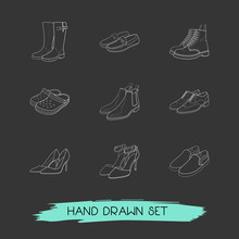 Set Of Footwear Icons Line Style Symbols With Wellington Boots, Stiletto, Crocs And Other Icons For Your Web Mobile App Logo Design.