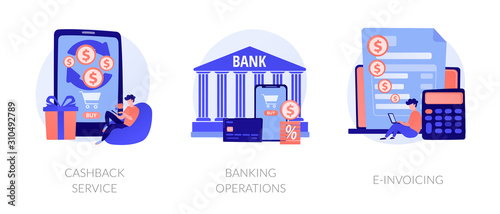 Obraz E banking icons set. Return on investment, financial services, internet tax payment. Cashback service, banking operations, e-invoicing metaphors. Vector isolated concept metaphor illustrations - fototapety do salonu
