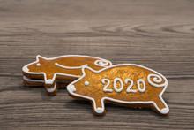 New Year 2020. Golden Pig Shap...
