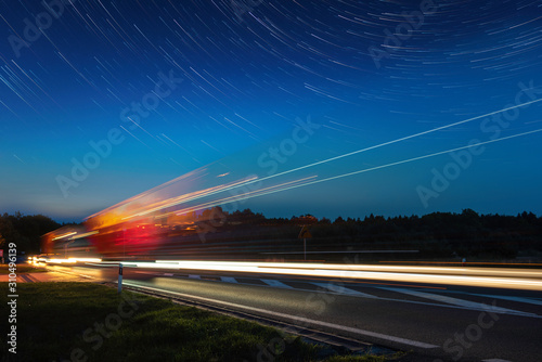 Speed Traffic - light trails on motorway Poster Mural XXL