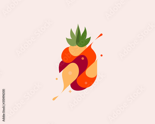 Pineapple vector colorful modern minimal style illustration. Creative icon logo splash concept explosion with drops. Fresh fruit vector logo emblem symbol logotype - 310496300