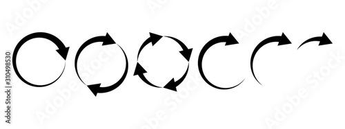 Black round arrows set, circle shapes. Vector illustration Tapéta, Fotótapéta