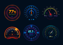 Speedometer Neon LED Light Gauge Arrows, Indicators