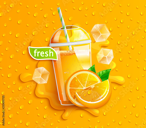 Fresh orange juice with ice and fruits, splash and apteitic drops from condensation on background, for brand,logo, template,label,emblem,store,packaging,advertising.Vector illustration.