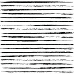 Hand drawn striped pattern. Monochrome horizontal dry brush strokes texture.